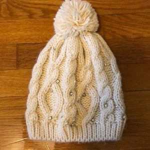Accessories - Cable knit Pom Pom stocking cap hat cream